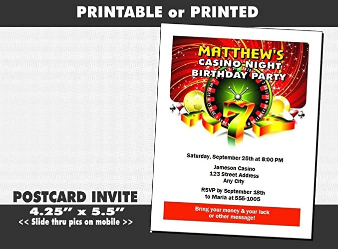 Image Unavailable. Image not available for. Color: Casino Birthday Party Invitation, Printable ...