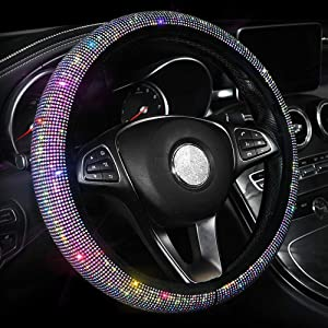 Car Bling Steering Wheel Cover for Women Girls, 15 Inch Universal Colorful Crystal Rhinestone Diamond Rainbow Bling Accessories Anti-Slip Wheel Protector, Black