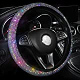 Car Bling Steering Wheel Cover for Women Girls, 15 Inch Universal Colorful Crystal Rhinestone Diamond Rainbow Bling…