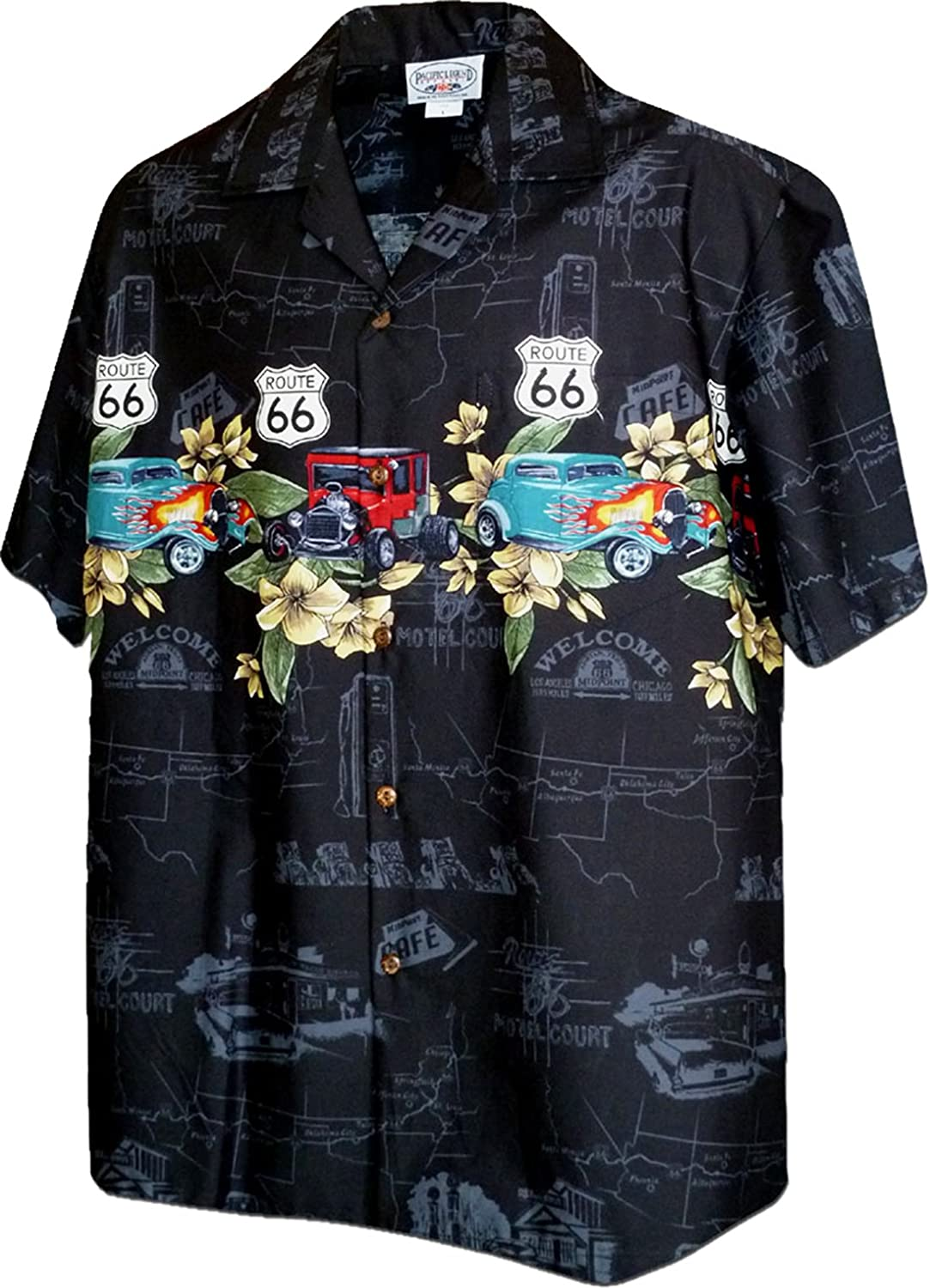 Pacific Legend Mens M to 4X RT 66 Flaming Roadster Chest Band Shirt