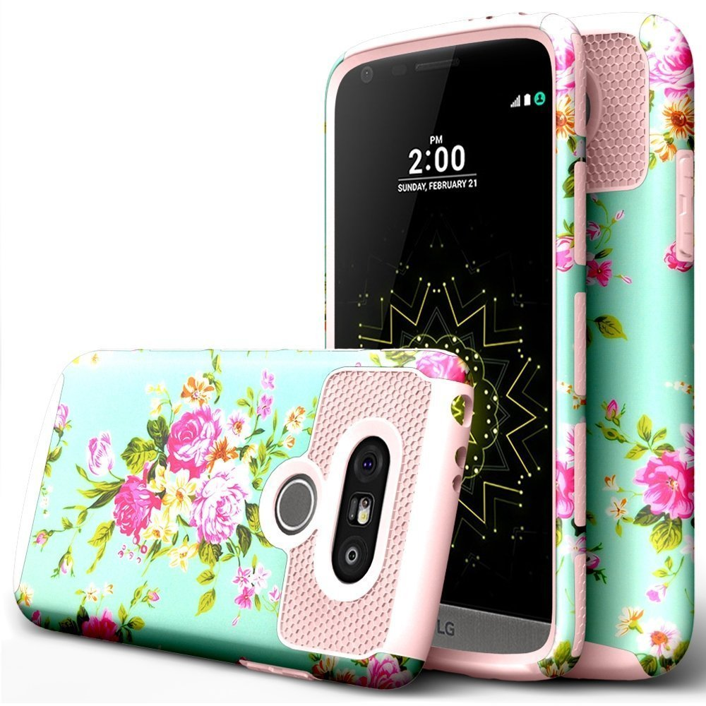 BAISRKE LG G5 Case,Peony Flower Design High Impact Heavy Duty Dual Layer Hard PC Outer and Shell with Soft Rubber Inner Armor Hybrid Protective Cover for LG G5 VS987/H820/LS992/H830/US992 - Rosegold