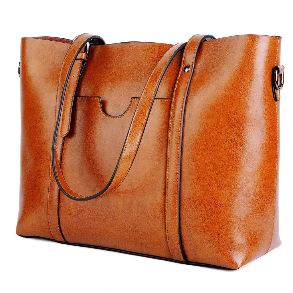 YALUXE Women's Vintage Style Soft Leather Work Tote Large Shoulder Bag Brown 2