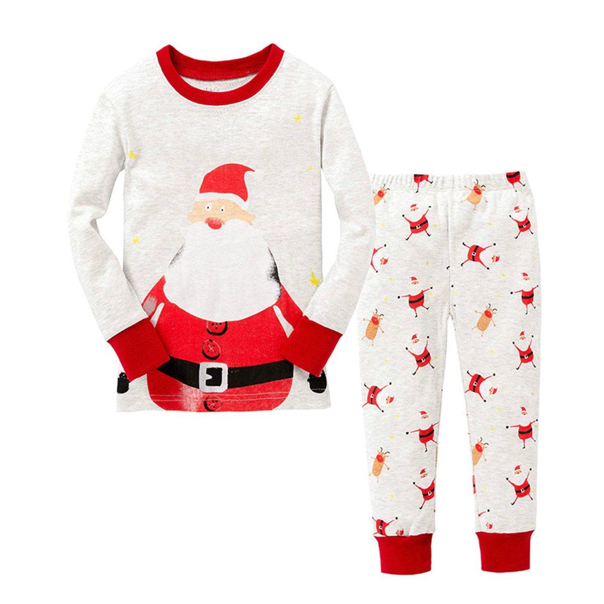 Inverno domestico della neonata del bambino del ragazzo del pagliaccetto del neonato di Natale di inverno TMEOG Natale Pigiama due pezzi pantaloni