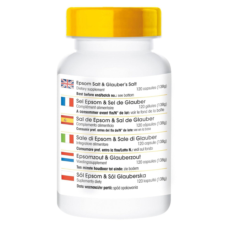 Sal de Epsom & Sal de Glauber - Sulfato de magensio y sulfato de sosa - 120 cápsulas - artículo vegano: Amazon.es: Salud y cuidado personal
