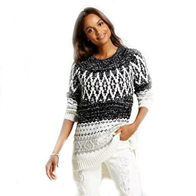e182bff599697 Merona Women s Patterned Pullover Sweater Cream (X-Large) at Amazon ...