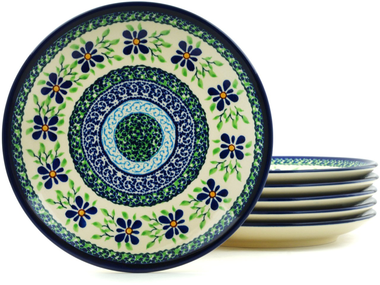 Polish Pottery Set of 6 Dessert/Side Plates - 7½-inch diameter (Sweet Violet Theme) + Certificate of Authenticity by Polmedia Polish Pottery