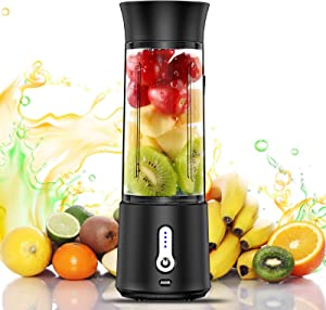 chalvh Portable Blender, 16.9 Oz Personal Blender for Shakes and Smoothies, Fruit Juice Mixer Rechargeable with USB C, Six Blades Mini Blender for Sports, Office, Travel, Gym, and Outdoors(Black)