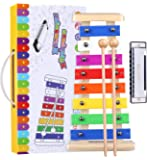 Precisely Tuned Wooden Xylophone for Kids & Harmonica Set - Professional Kids Musical Instruments Set Percussion…