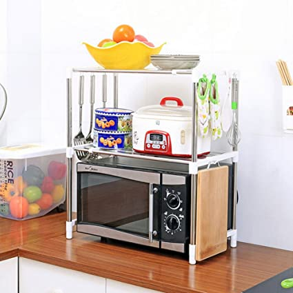 Connectwide Double Microwave Oven Stand Shelf Side Organizer Storage Unit  Rack With Hanging Hook