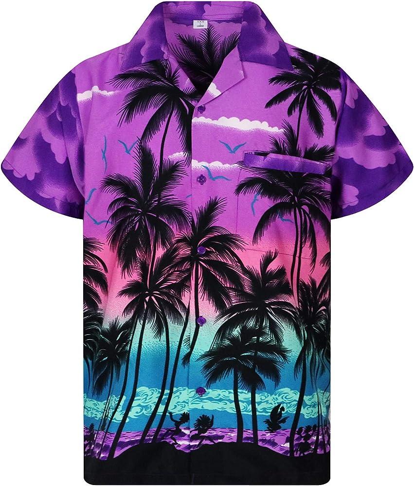 V.H.O. Camisa hawaiana para hombre de manga corta, bolsillo frontal, estampado hawaiano, playa y palmeras Color morado playa. L: Amazon.es: Ropa y accesorios