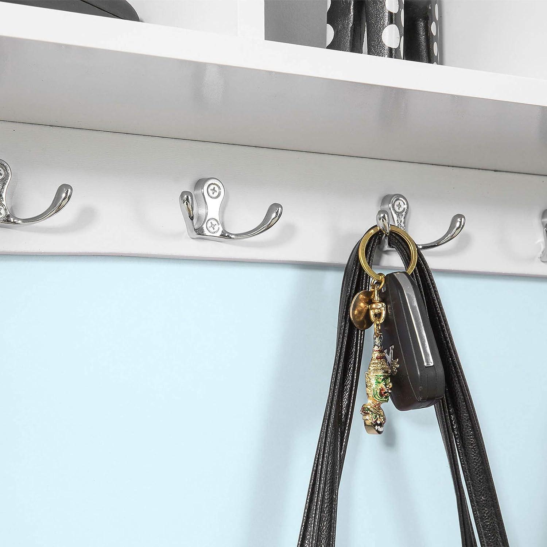 SoBuy/® FRG48-W bianco,L60cm,IT Portachiavi da parete Mensola da bagno Appendiabiti Appendichiavi
