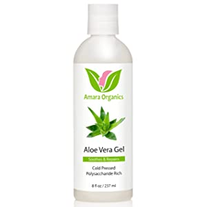 Aloe Vera Gel - From Organic, Cold Pressed Aloe - 100% Natural Skin Care Treatment for Dry, Itchy Skin, Sunburn, Eczema, Psoriasis, Acne, Dandruff, Scalp Itch, Bug Bites, Razor Burn & More - 8 oz