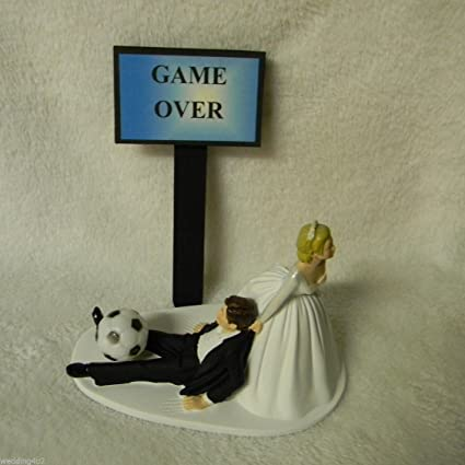 Wedding Reception Sport ~Soccer Ball~  Ball /& Chain Cake Topper Sassy Bride