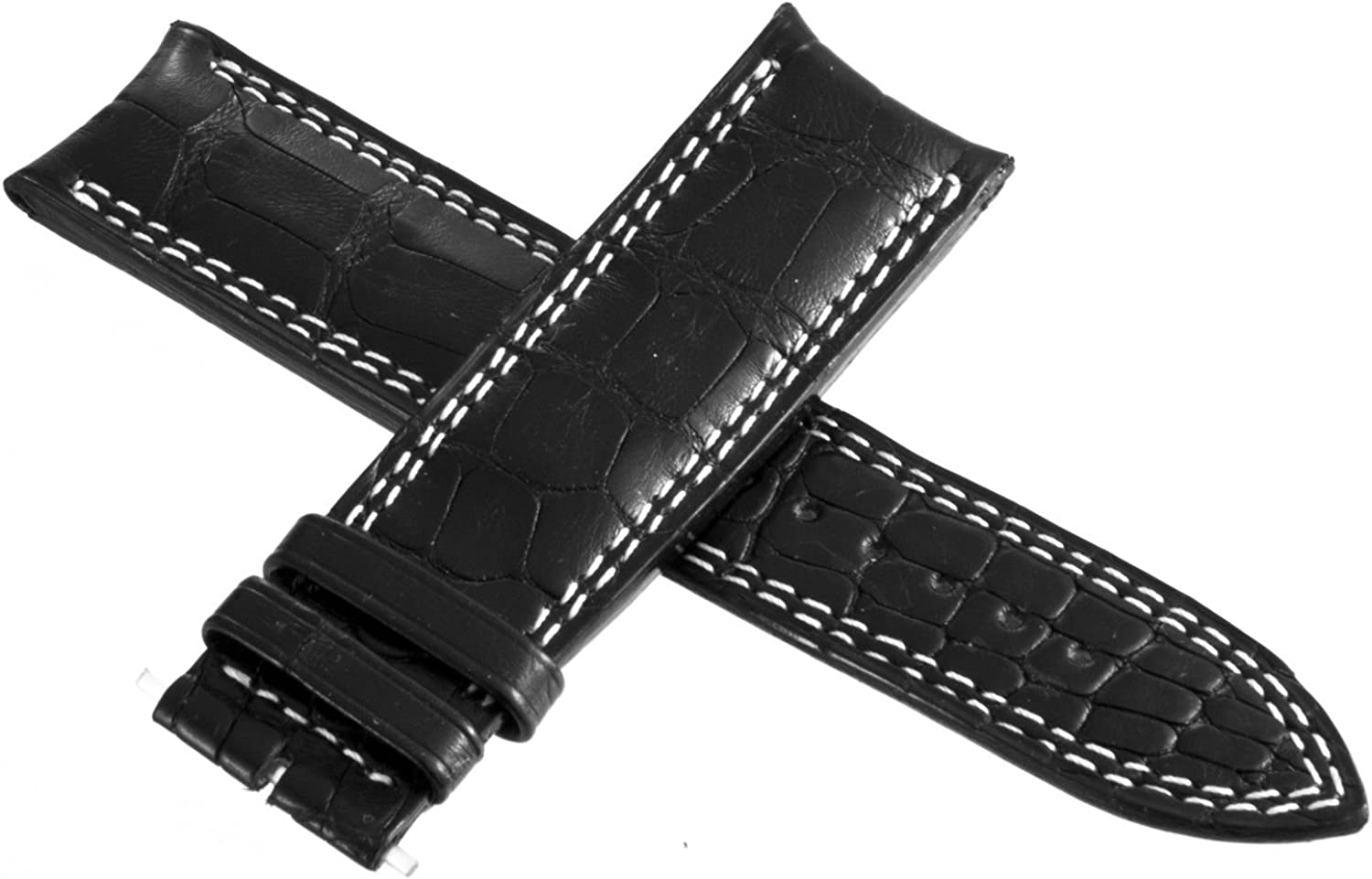 Jaeger LeCoultre Mens Black Gray Genuine Leather Watch Band 22mm x 20mm