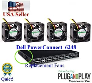 extra-cooling Set of 4X Quiet Version Replacement Fans for Dell PowerConnect 6248 (XT800) Low Noise 27.5dBA