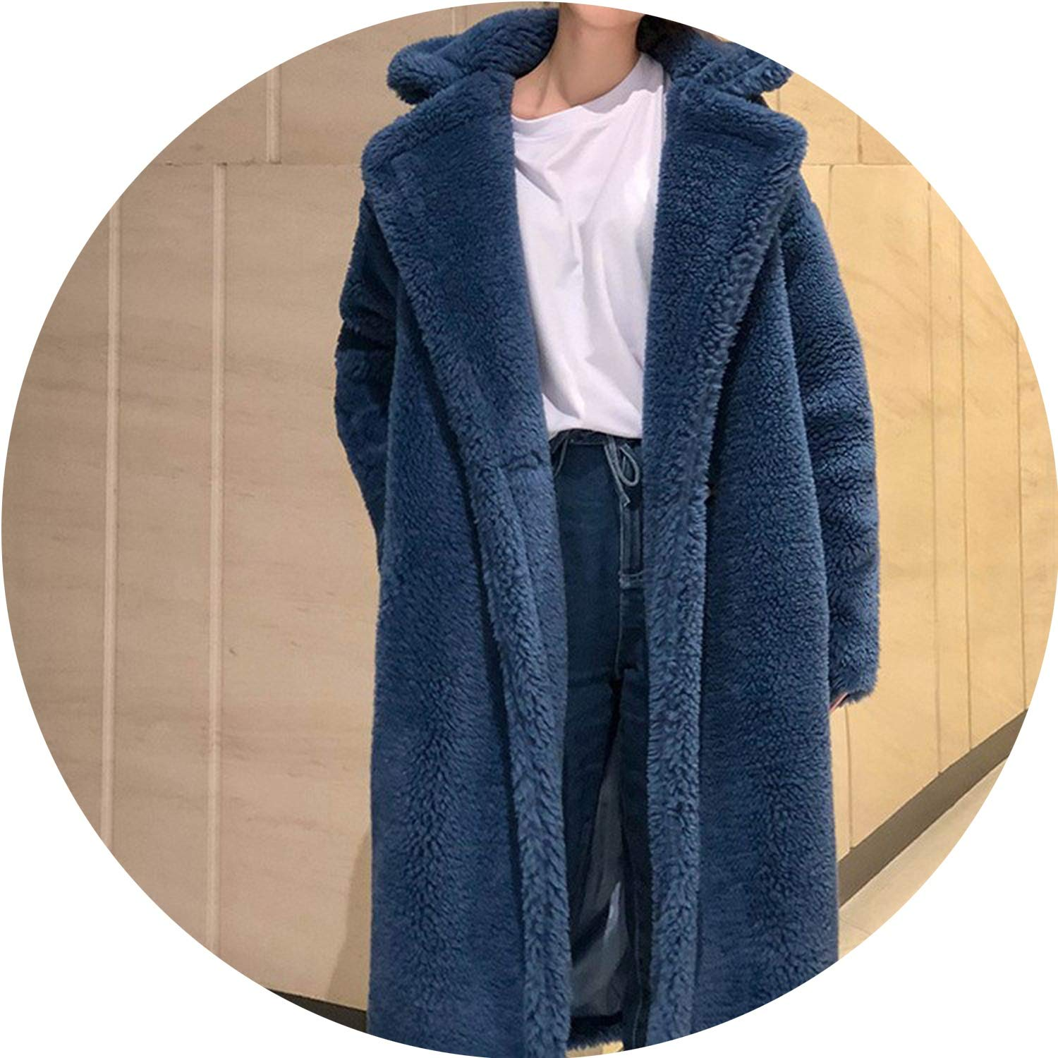 bluee 2018 Autumn Winter Women Faux Fur Coat Casual Double Breasted Thick Long Woolen Coats Female Loose Outerwear