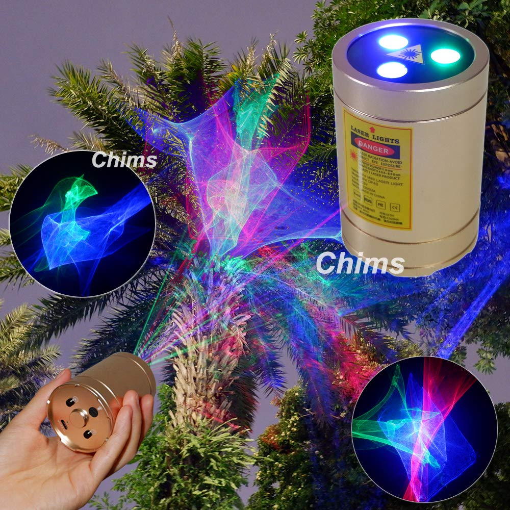 Mini DJ Party Light, Chims Laser Light Rechargeable Portable Cordless RGB Aurora Effect Laser Projector Party Lights for Disco Party Xmas Christmas Event Birthday Gift Outdoor Garden Camping by Chims
