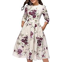Cóctel Floral para Mujer de los años 50 Vestidos Retro Vintage Vestido de Noche Midi Elegante 3/4 Mangas