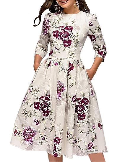 cheap for discount 3bfb0 901b7 JOJJJOJ Abito da Donna Vintage Anni '50 con Abiti da Cocktail, Abiti  Vintage retrò, Elegante Abito da Sera a Mezza Manica 3/4