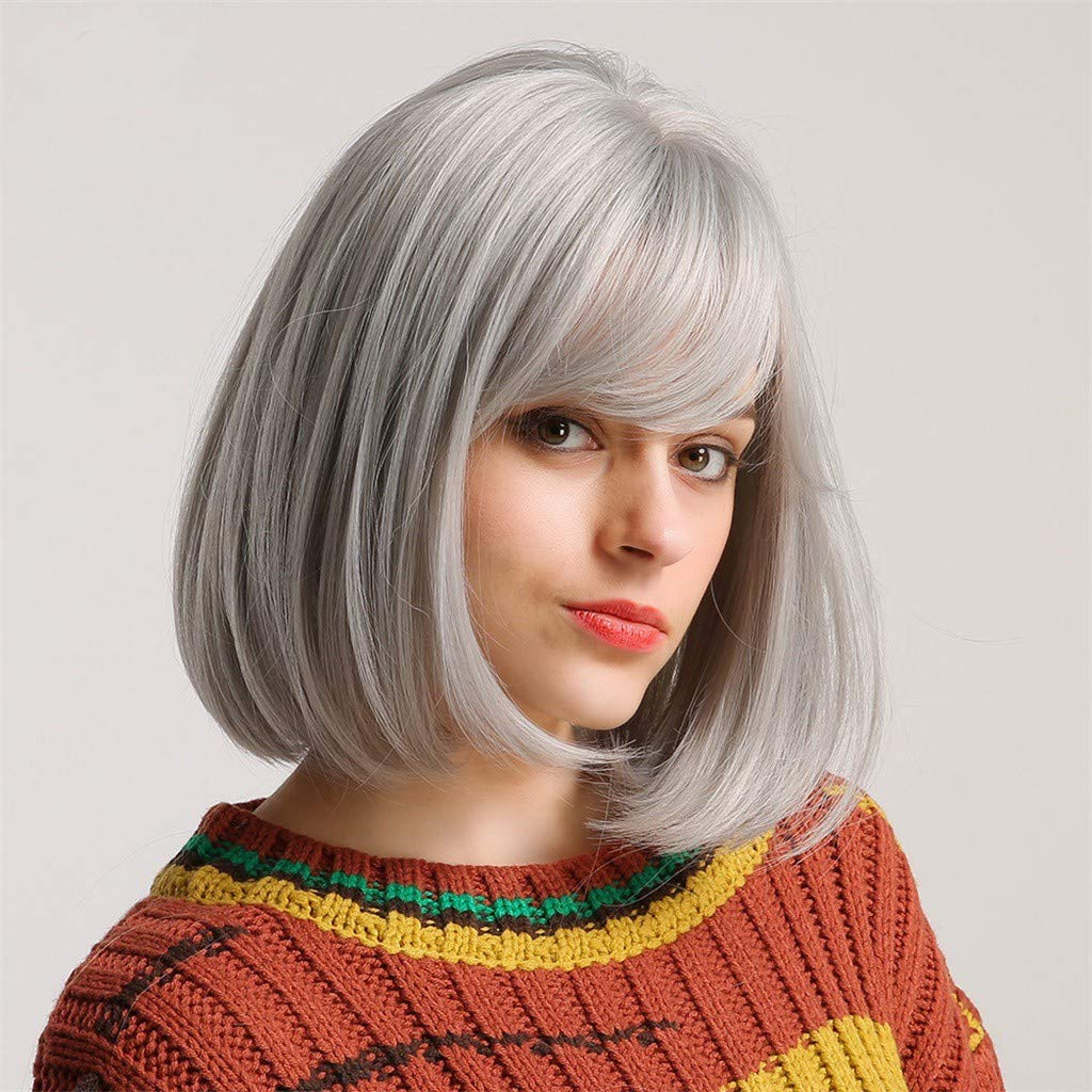 WONdere A Synthetic Hair Wig Can Be Rolled And Blown Into A Silver-gray Bob Wig