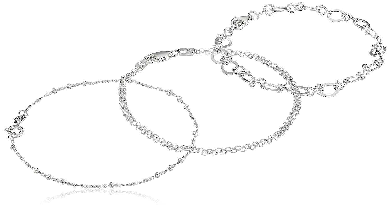 Sterling Silver Set of Three: Bismarck, Flat Open-Oval Link and Thin Twisted Bar- and -Bead Link Chain Bracelets, 7 7 Amazon Collection RG4147A