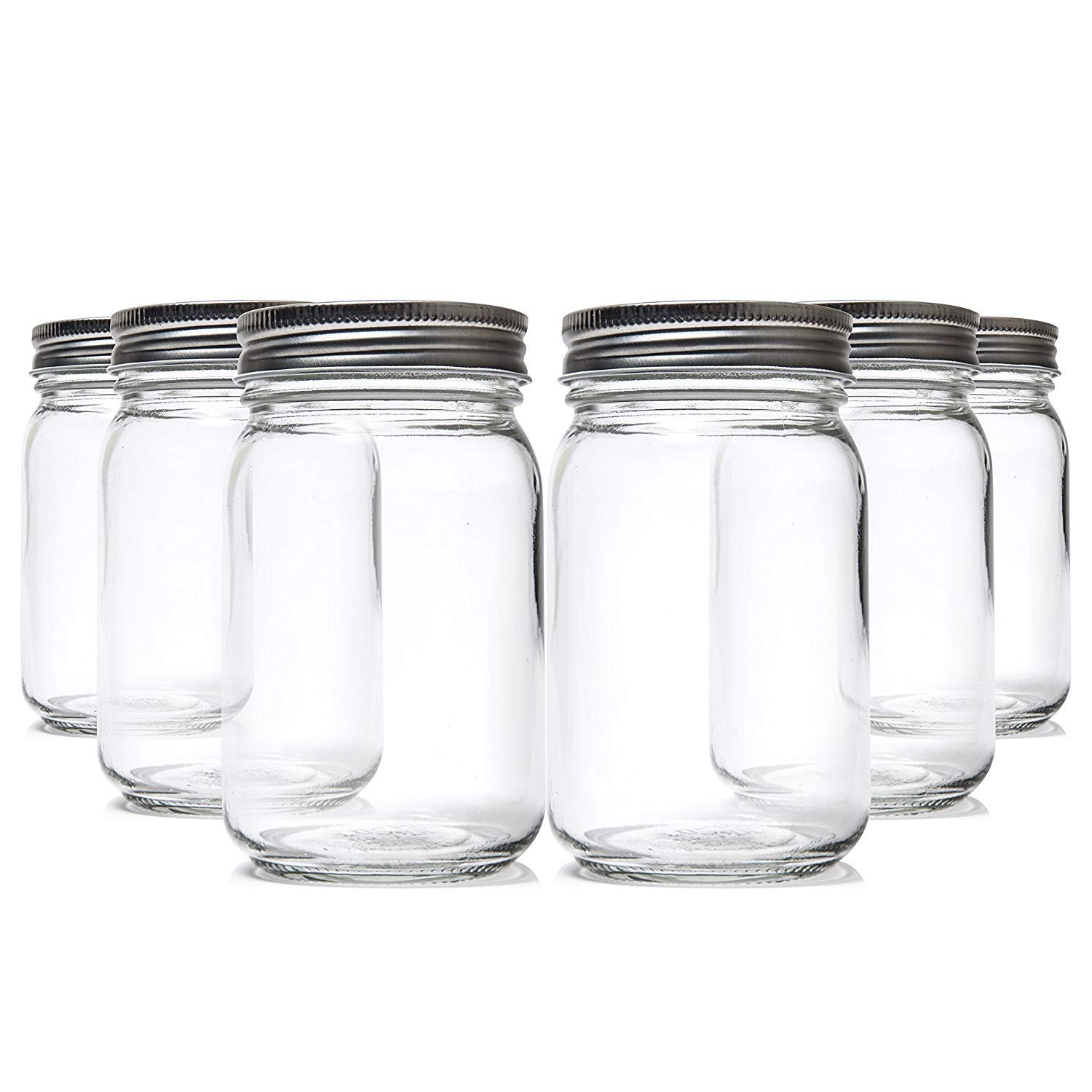 Easy-Busy Food Storage Regular Mouth Clear Glass Mason Pint (16 Oz) Canning Jars, With Lids and Bands, Ideal for Jelly, Fermenting, Kombucha, Apothecary uses, Dishwasher Safe, BPA Free, Set of 6.
