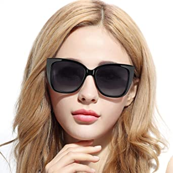 Pdnlds Mujer Ojos de Gato Gafas de Sol Polarizadas Cuadrado Retro ...