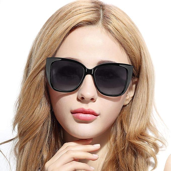 Pdnlds Mujer Ojos de Gato Gafas de Sol Polarizadas Cuadrado ...