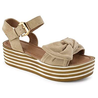 4d7b7a7af RF ROOM OF FASHION Open Toe Oversize Bow Ankle Strap Platform Wedge Sandals  Beige Size.
