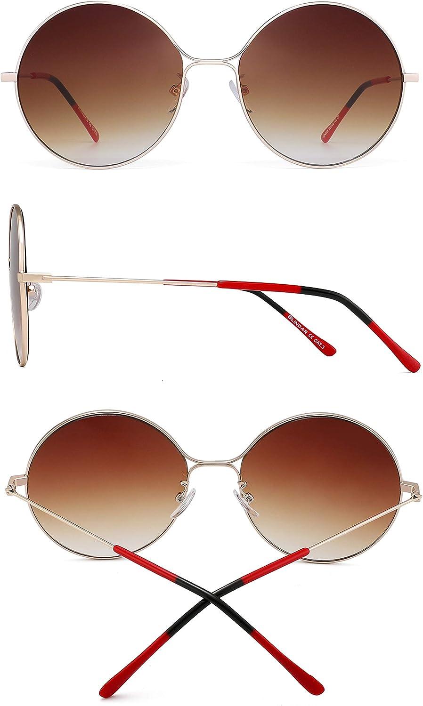 GLINDAR Lunettes de Soleil Rondes Oversize Vintage en M/étal pour Femmes Lentille Cercle Gradient Surdimensionn/é