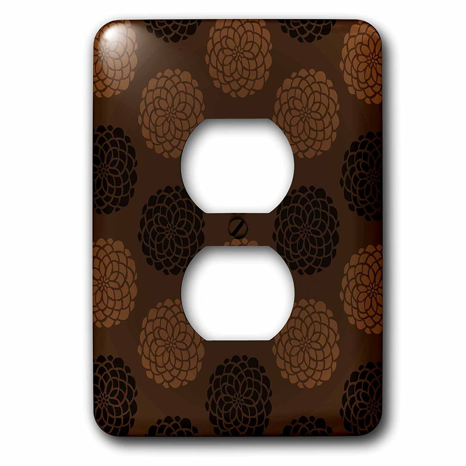 3dRose lsp_152254_6  Contemporary Light and Dark Brown Large Mums Flower Pattern 2 Plug Outlet Cover