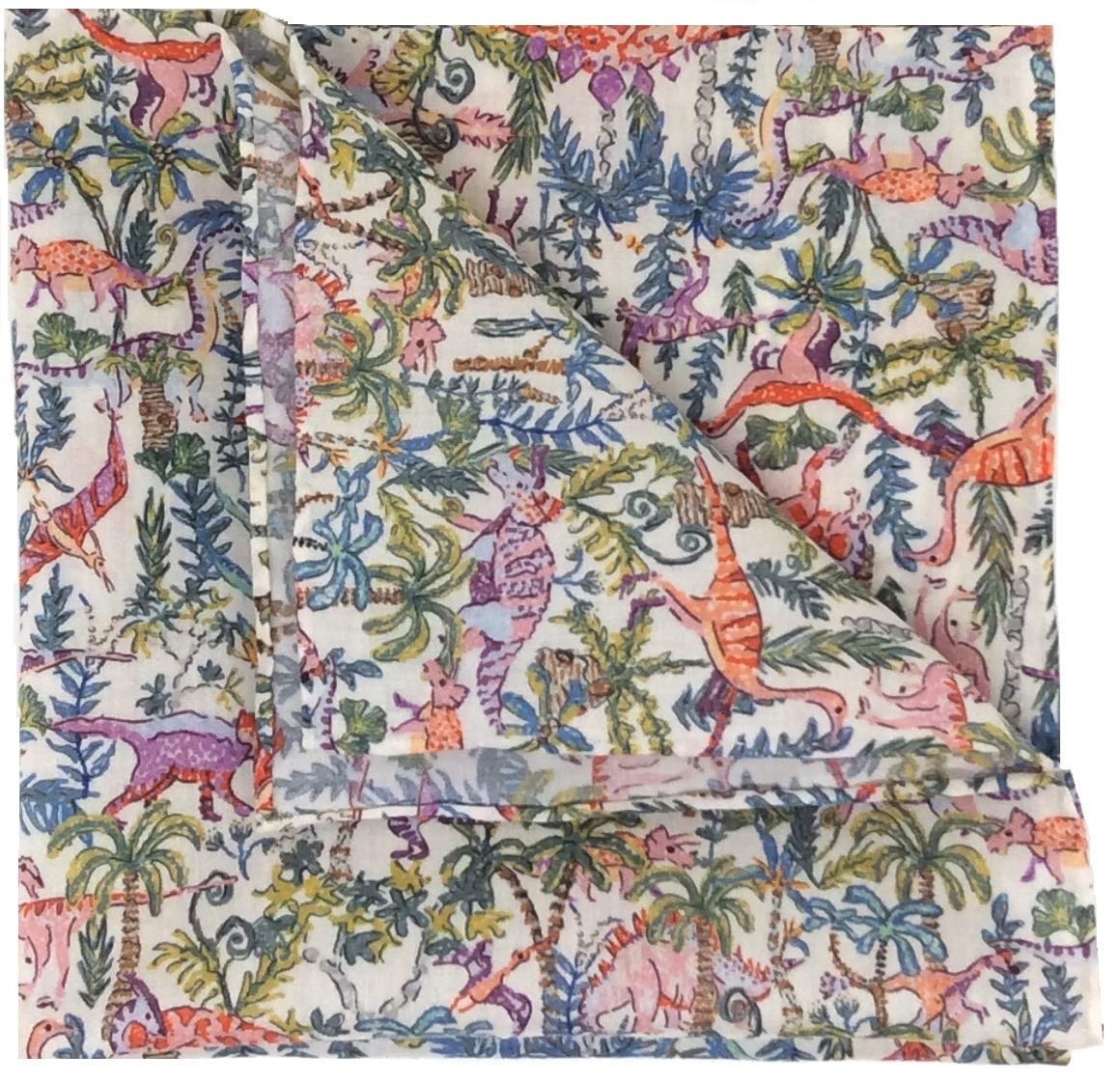 Liberty Print Pocket Square - Rumble and Roar- Hand Rolled Hem