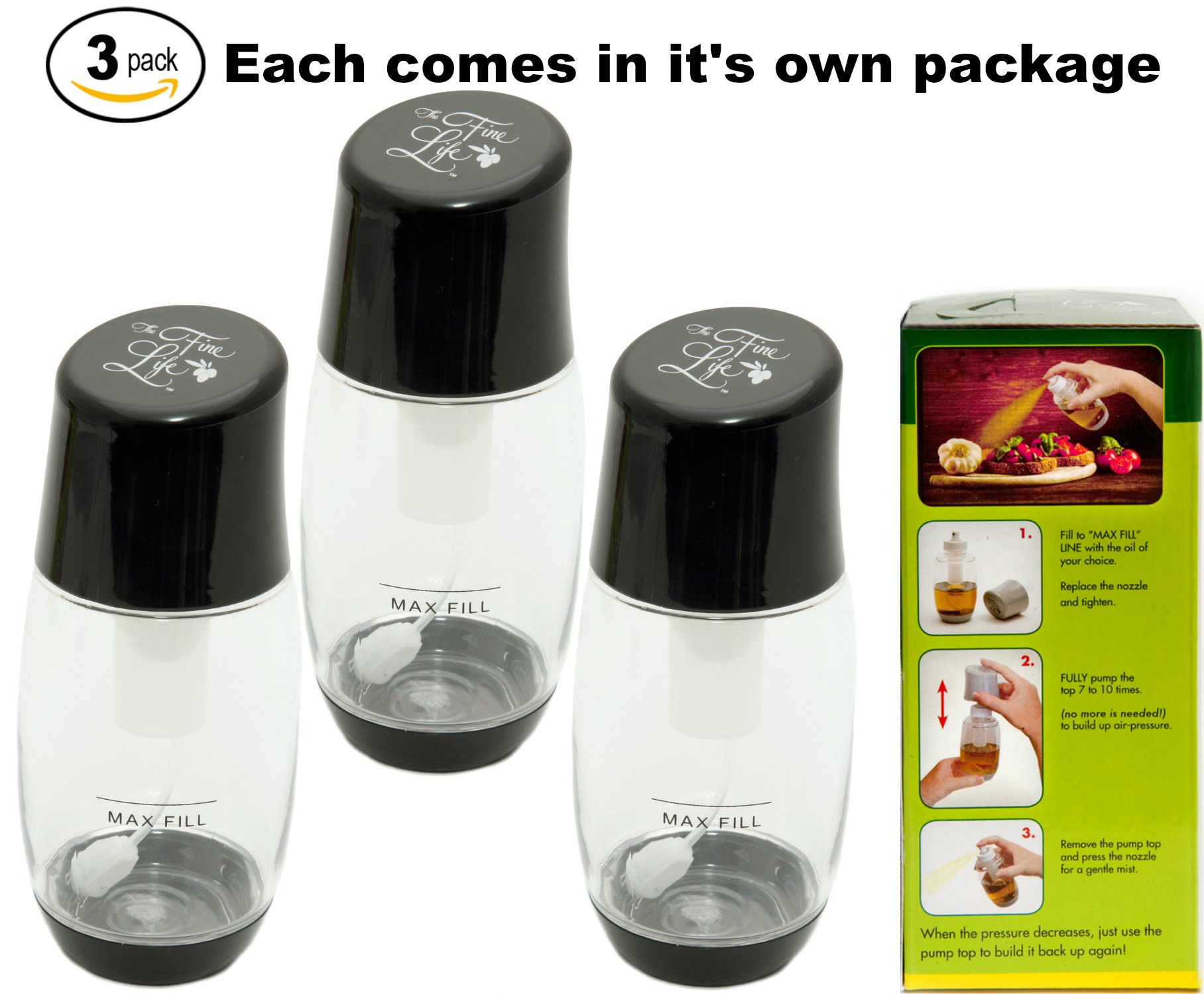 The Fine Life Ideal Kitchen Bundle Olive Oil Sprayer Mister - 3-Pack - Black by The Fine Life
