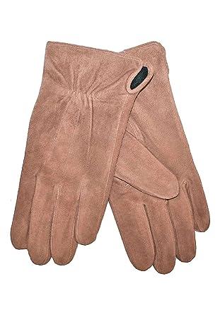 ae98dbce4652 Daim paire de gants en cuir pour femme avec doublure en polaire-marron- taille