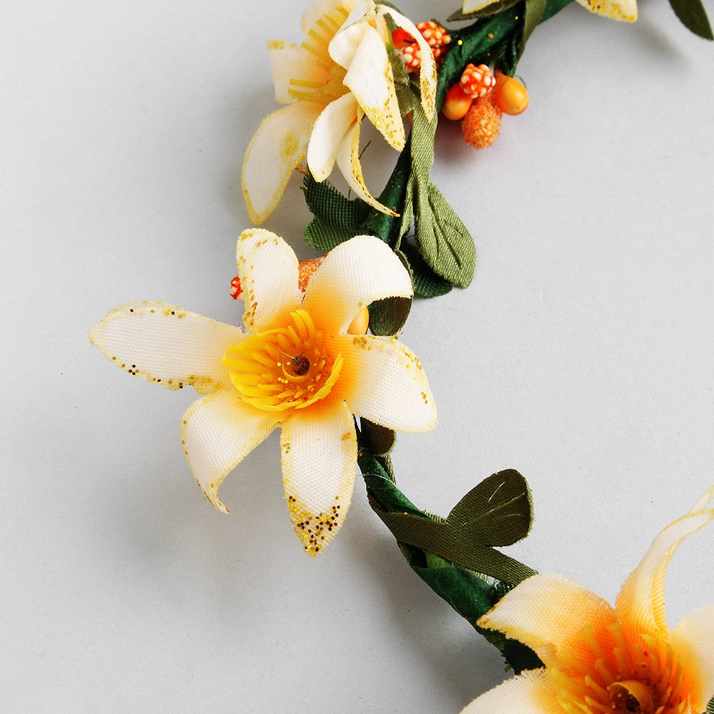 Bridal garland, seaside beach wind, bridesmaid head ring, children's wreath, beach wedding headwear accessories (yellow) by Mi an yi nuo (Image #4)
