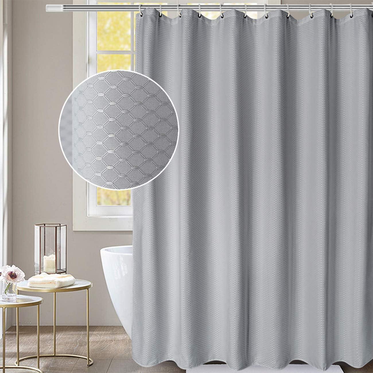 72 x 80, Yuunity Shower Curtain Polyester Fabric Washable Waterproof Eco-Friendly Washable Hotel Quality Grey 72x80