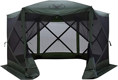 Gazelle GG600GR 8 Person 6 Sided Outdoor Portable Pop Up Water and UV Resistant Gazebo Screened Tent