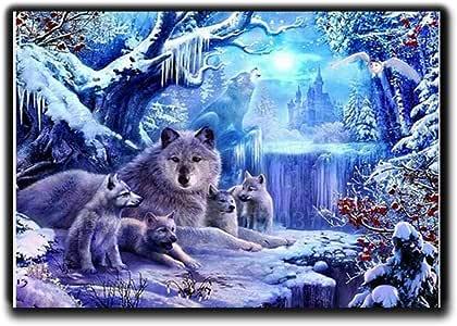Diy diamante bordado diamante mosaico hambriento lobo ...