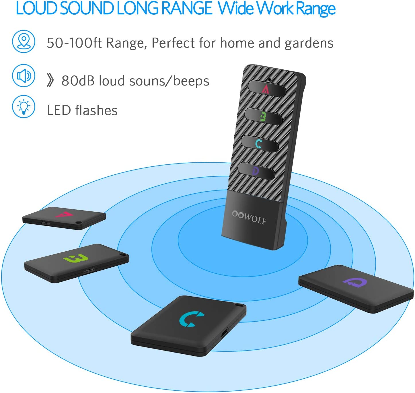 Wallet Phone TV Remote OOWOLF Key Finder Wireless RF Item Locator Anti-Lost Alarm Item Tracker Finder Loud Beeping Sound with 4 Receivers Rechargeable for Car Keys