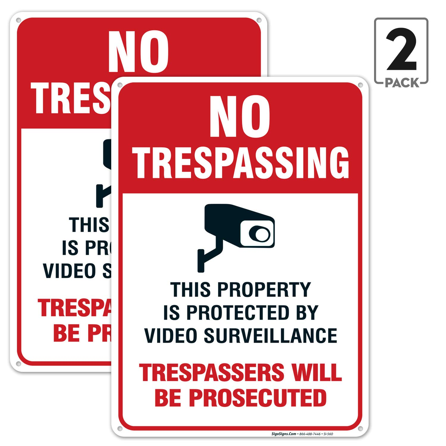 (2 Pack) No Trespassing Sign, Video Surveillance Sign, 10x14 Rust Free Aluminum UV Printed, Easy to Mount Weather Resistant Long Lasting Ink Made in USA by SIGO SIGNS by Sigo Signs