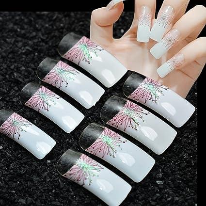 echiq 24pcs largo cuadrado francés uñas postizas color blanco con rosa flores con blanco brillante luz