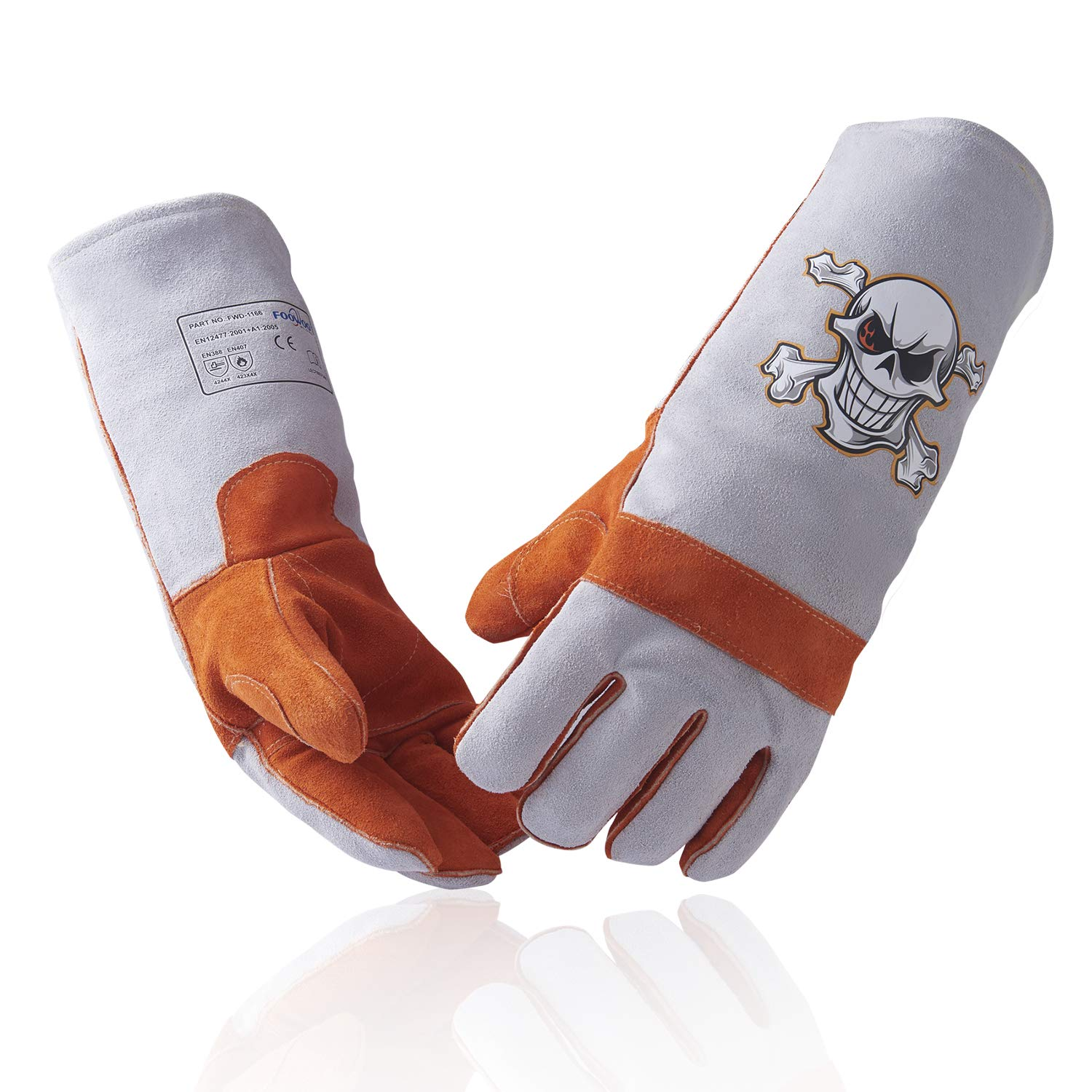 """Foowoo Cowhide Leather Stick/MIG Welding Gloves with KEVLAR heat/fire Resistant thread,Mitts for Fireplace,Stove,Oven,Grill,Pot Holder,Plasma Cutter,Animal Handling,16"""" Orange-Grey/Welder Hand Protect"""