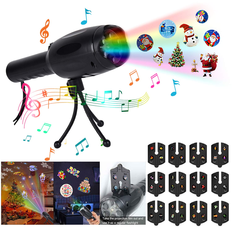 Outgeek Musikalisches Weihnachts LED Projektorlicht, Kids Handheld Decoration Party 2 in 1 Wiederaufladbare Taschenlampe mit Stativ, 12 Muster fü r Geburtstags Danksagungs Weihnachten Neujahrsfest