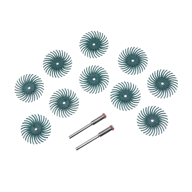 10Pcs 1000 Grit Radial Bristle Disc Brush Assortment Polisher Mandrel Wood Jewelry Ect-8 Grit 2Pcs Mandrel