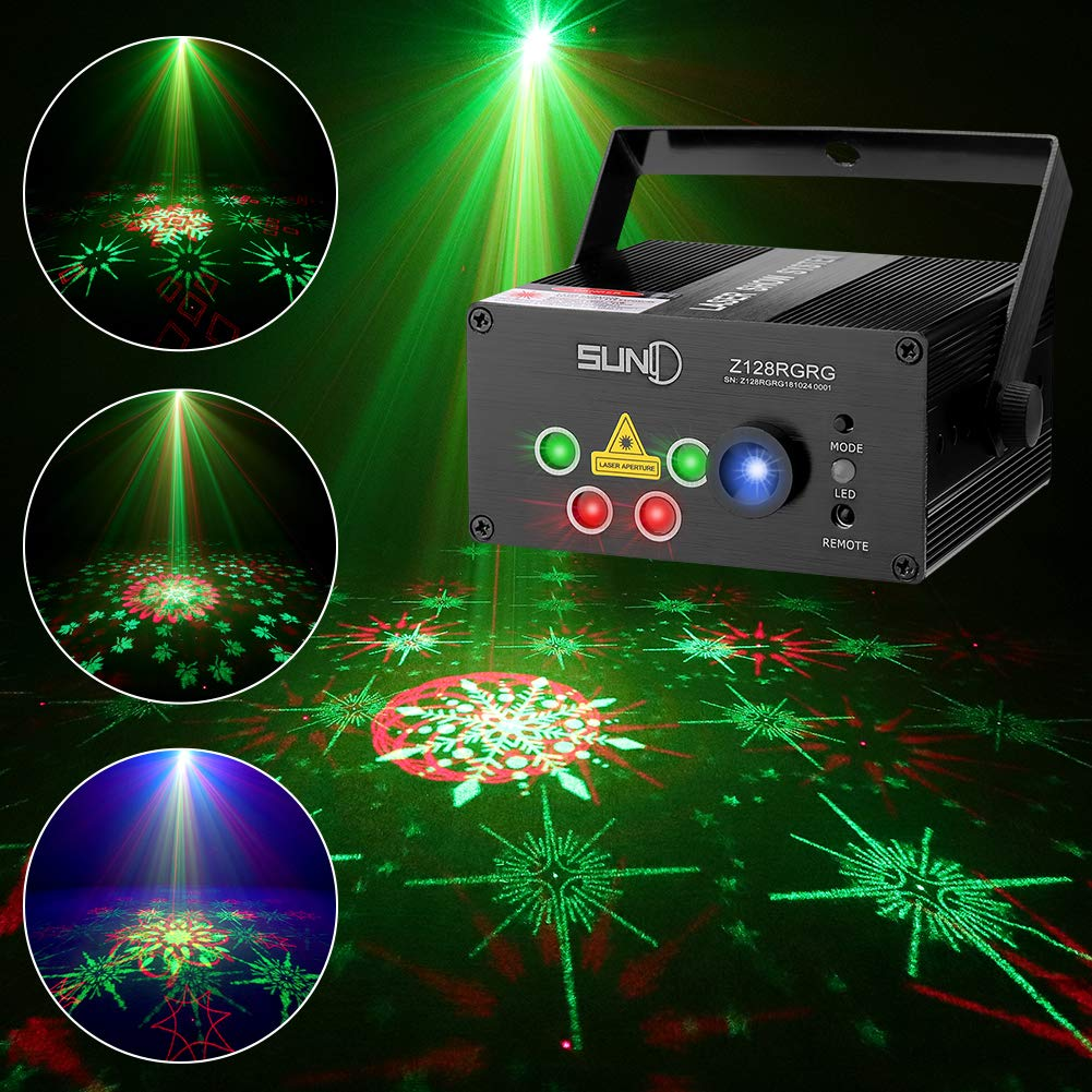 SUNY Laser Lights Music Laser Projector 128 Combinations Gobos Projector Indoor 5 Lens Decoration Light Blue LED Remote Control Stage Lighting Red Green Sound Activated Party House Xmas RG Laser Light by SUNY