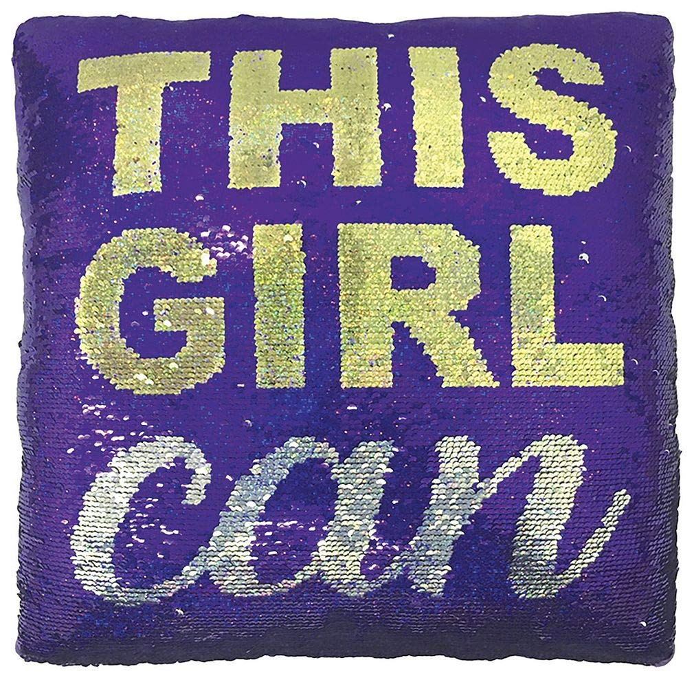 iscream This Girl Can 12'' Square Reversible Sequin Soft Fleece Back Accent Pillow by iscream
