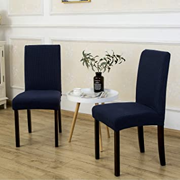 2 Pack Armless Chair Slip Covers for Dining Room Kitchen Slipcovers Soft  Jacquard Home Decor Navy Blue