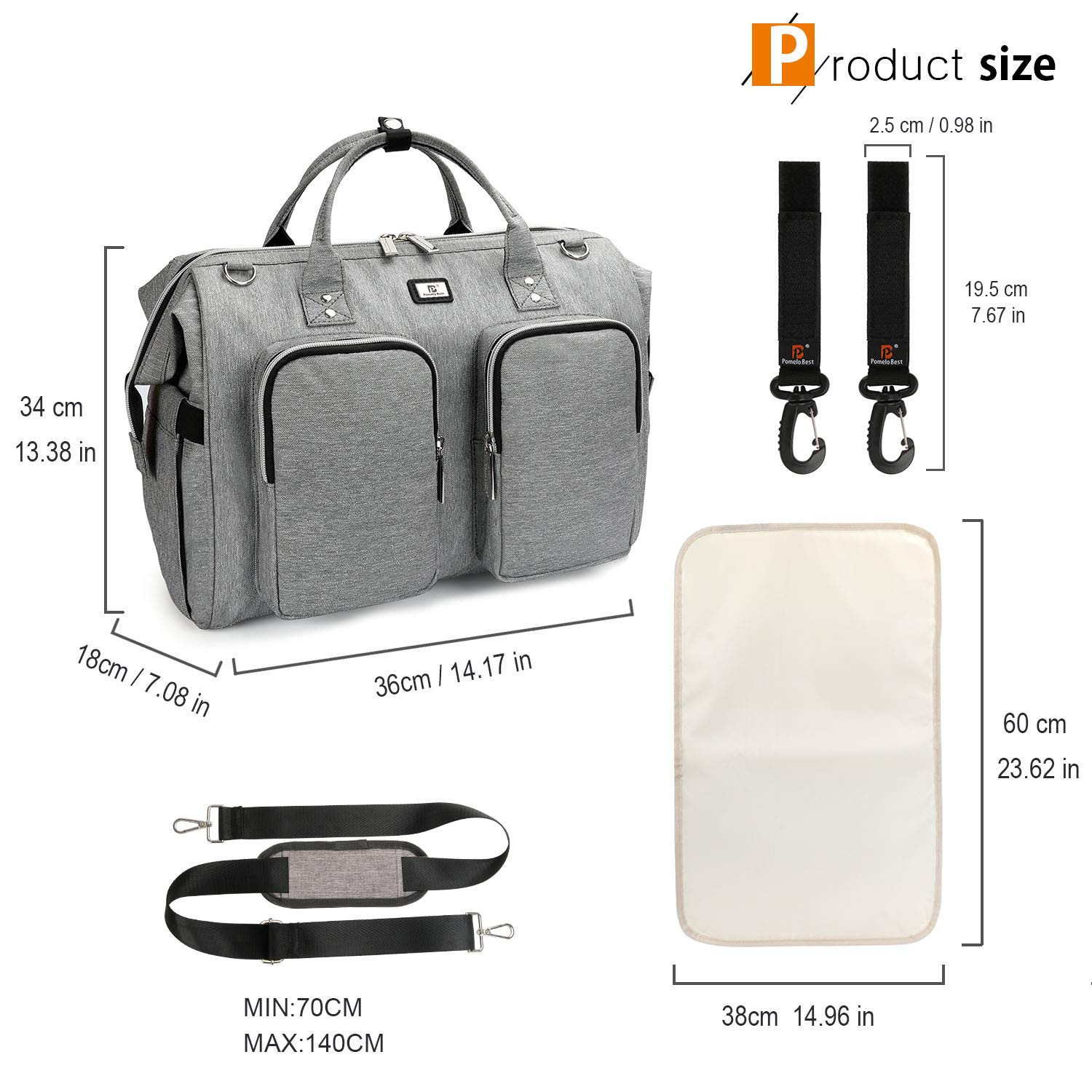 Baby Changing Bag with Pram Clips and Chaing Mat