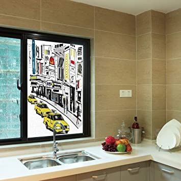 . Amazon com  YOLIYANA Colorful Window Film Modern for Toilet Bathroom