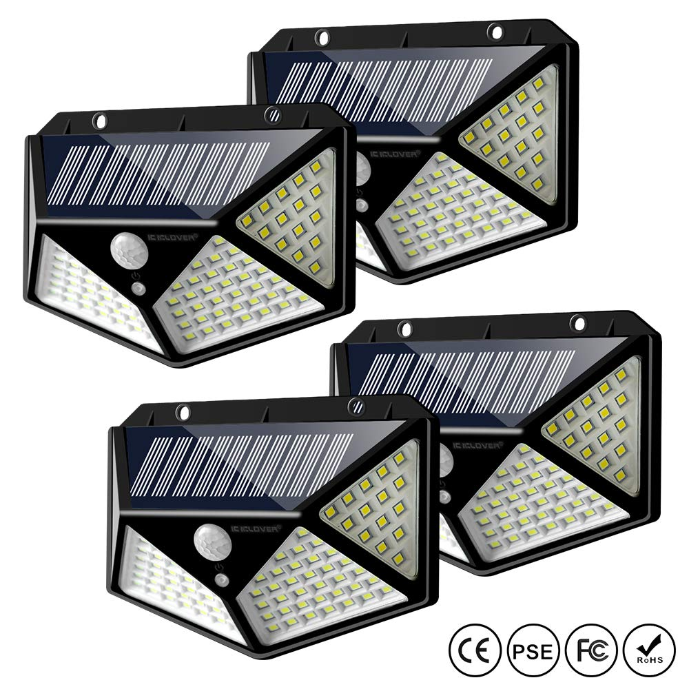 Solar Lights Outdoor, IC ICLOVER 100 LED IP65 Waterproof Solar Powered Motion Sensor Wall Lights with 270° Wide Angle up to 1000 Lumens for Garden,Patio Yard,Fence,Deck Garage,Porch -4 Pack